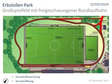 Großspielfeld mit freigeschwungener Rundlaufbahn