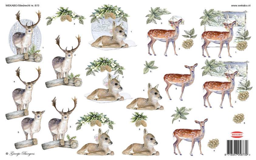 Unieke hobby en knutselartikelen van Wekabo. Kerstkaarten, knipvellen, hobbykaarten. Hert