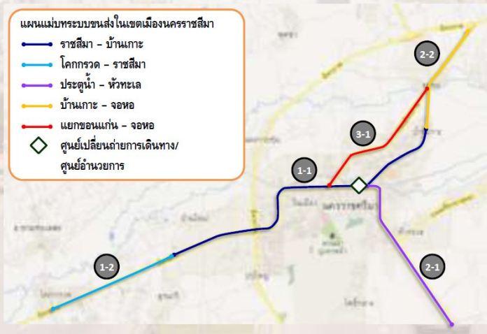 แผนผัง KRT การขนส่งมวลชนโคราช