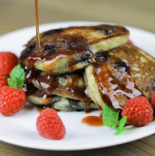 Blueberry Ricotta Multigrain Pancakes