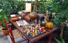 Recreation of Frida's desk inside the Enid A. Haupt Conservatory