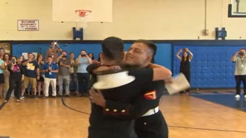 Marine Surprises Brother Basketball Practice
