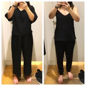 Uniqlo 2017 drape collection dressing room try on. I'm trying on black tops and pants.