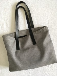 Everlane twill zip tote bag, shown after a year of use.