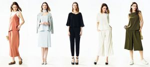 Five Uniqlo 2017 drape collection outfits, as styled on the website.