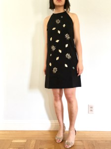 Victoria Beckham for Target embellished bug dress as modeled by me. It's sleeveless and I paired it with gold wedge heels.