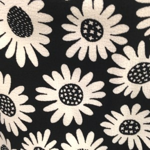Victoria Beckham for Target review. Detail of a black and floral pattern on a dress.