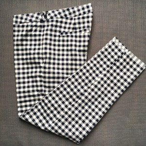 Victoria Beckham for Target blue and white gingham ankle pants.