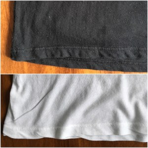 Comparison of the bottom hem of the Everlane V-neck tee in black and in white.