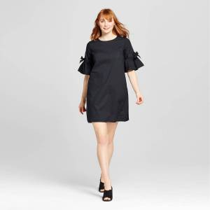 Target who what wear tie sleeve dress as modeled on a tall white woman with red hair.