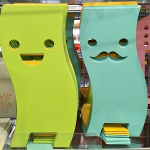 Tall Daiso bookends with faces. One of them has a mustache. Why?