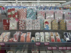 Daiso stationery retail display.