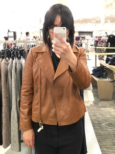 Halogen petite moto leather jacket, part of the Nordstrom Anniversary Sale, as modeled on me. It's boxy.