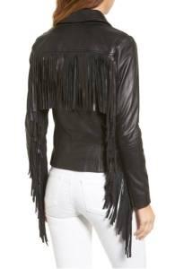 Back of a black leather jacket, showing lots of fringe.