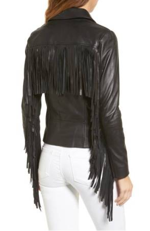 Back of a black leather jacket, showing lots of fringe.