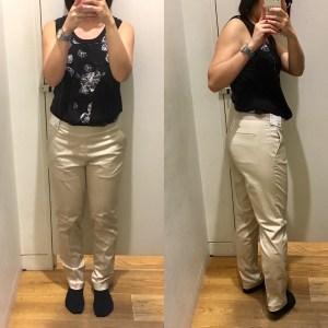 Uniqlo Smart Ankle pants fitting room selfie.