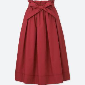 Uniqlo high waist midi flare skirt. This is the photo from the website, which shows just the garment. It's red.