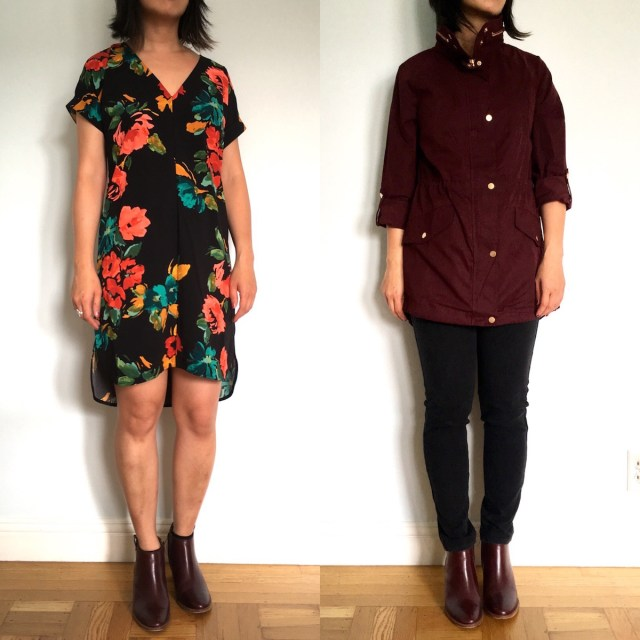 side by side photos of me, a petite woman, wearing a short sleeve floral shift dress, and a maroon anorak