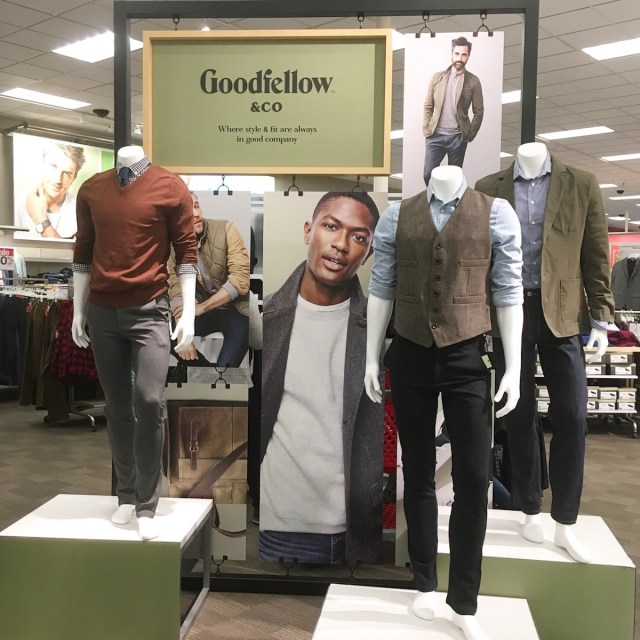 retail display for Goodfellow and Co with outifts on mannequins, such as sweaters and vests