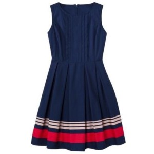 Jason Wu for Target poplin dress. It is a blue sleeveless dress with white and pink and blue stripes at the bottom.