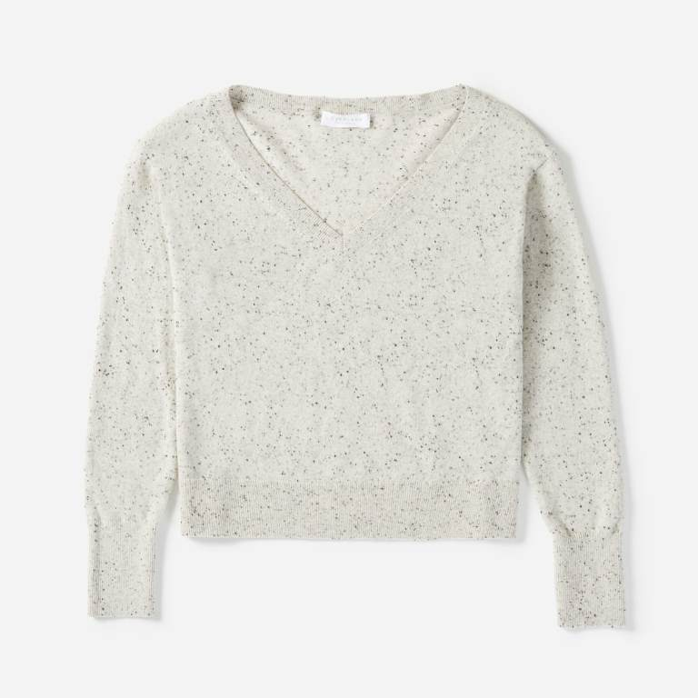 Everlane Cashmere Crop V-neck sweater in frost donegal, a light gray with dark specks.