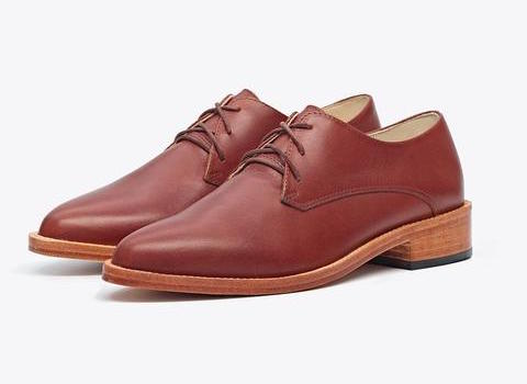 Brown oxford shoes.