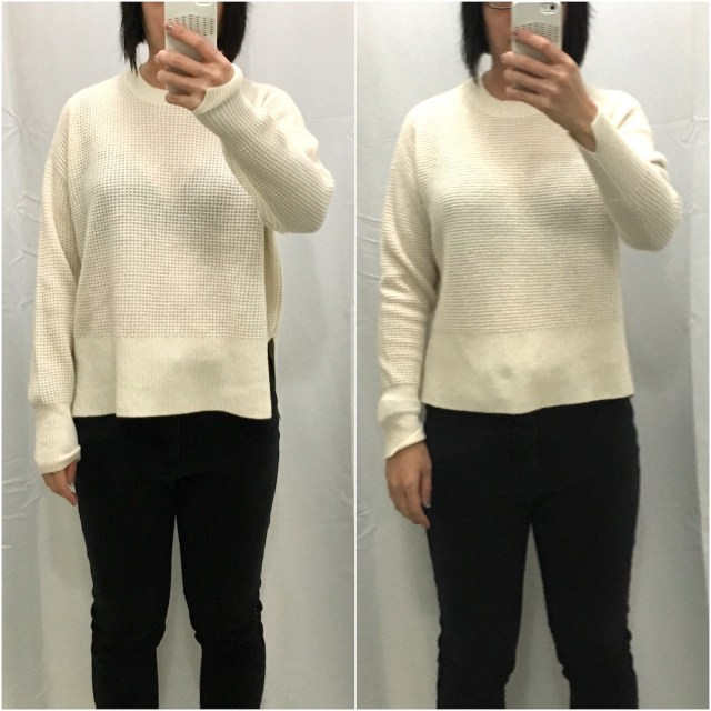 Everlane waffle knit square sweater as shown from the front in XS and XXS.