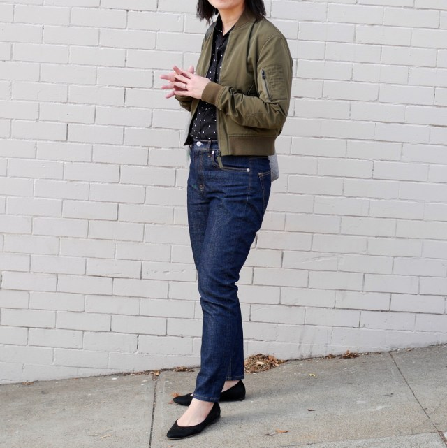 Everlane high-rise skinny jeans from the front.