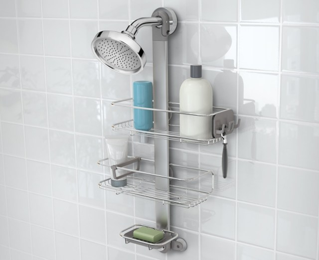 Simple Human shower caddy as shown on a shower head.