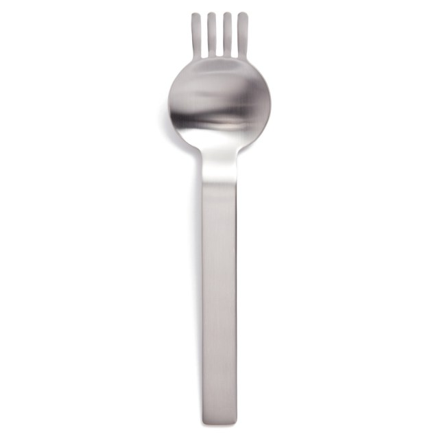 A ramen spork, which looks like a spoon with 4 tines sticking out the top.