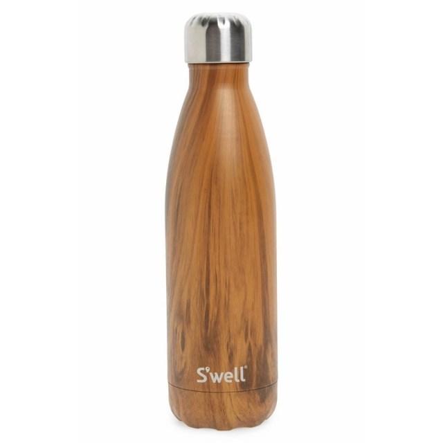 Swell water bottle in a wood grain pattern.