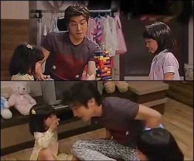 MinWoo playing with YeEun and MinJi
