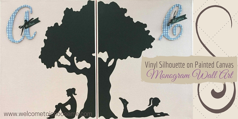 Vinyl Silhouette on Painted Canvas Monogram Wall Art