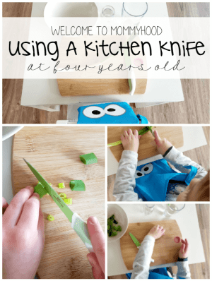 Using a kitchen knife at 4 years old #montessori, #montessoriactivities