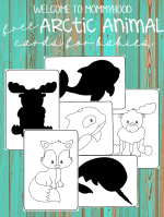 Black and white arctic animal cards