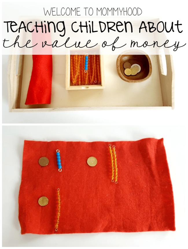 Using Montessori beads to teach the value of money by Welcome to Mommyhood #montessori #montessoriactivities