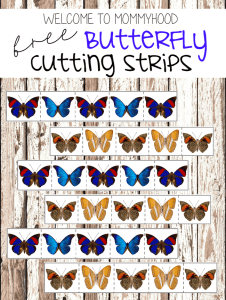 Montessori butterfly cutting strips