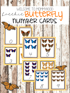 Free Butterfly Number Cards for toddlers and preschoolers