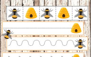 Bee cutting strips for scissor practice