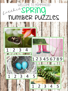 Spring activities: free spring number puzzles printables
