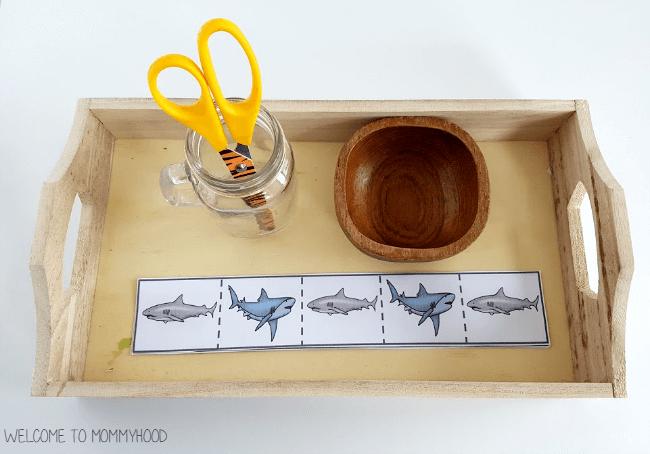 Montessori cutting strips - shark activities