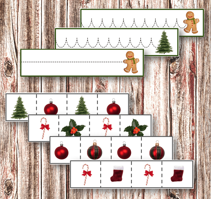 Christmas tracing printables for helping your children to learn to using scissors, practice using a pen, or more! Get them for free here!