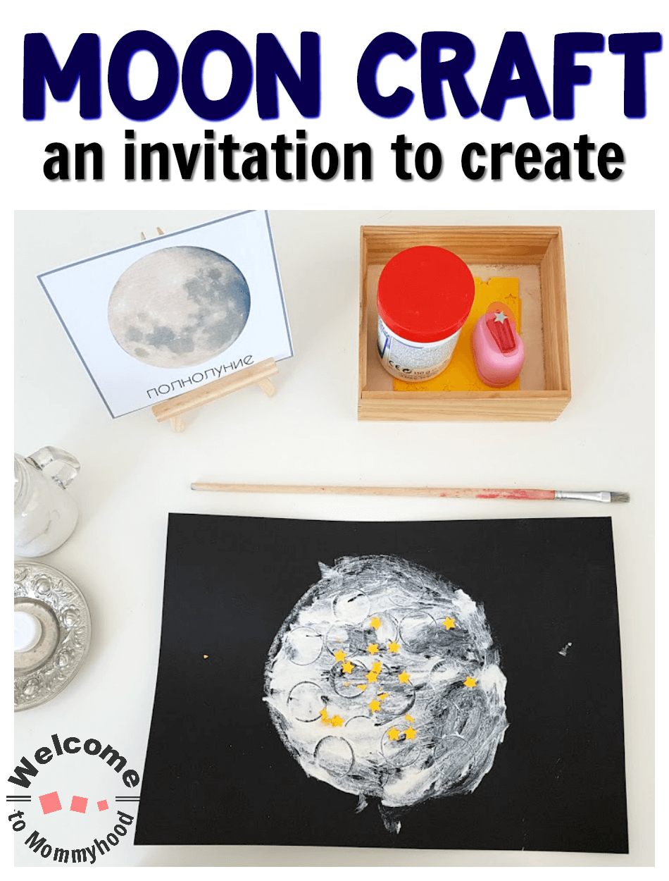 Have a space lover? Discover how we created a fun, child-led craft with no pressure and fuss. This moon craft is perfect for preschoolers, kindergarteners or older children. Plus, they will be able to explore the way the surface of the moon looks! #mooncraft #kidsactivities #handsonlearning