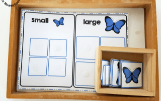 Learn how to teach your children about size sorting with our Butterfly size sorting printables! These are perfect for spring!