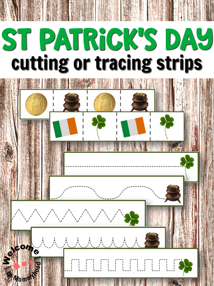 Help your child work on their pencil grasp or scissor skills with these fun St Patrick's Day printables! Use our St Patrick's Day Tracing or Cutting Strips to practice important skills that will build hand muscles and help your child develop handwriting or scissor skills!