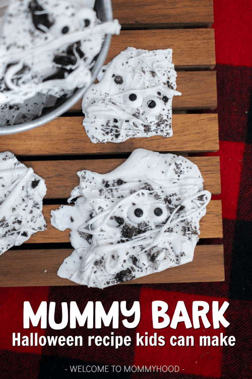 Try making this delicious mummy bark with your kids! This is one of our favorite Halloween recipes for kids! They'll be excited to make these cute snacks!