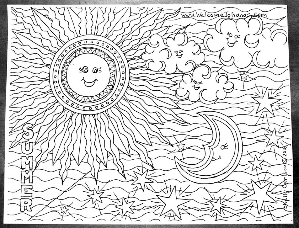 Summer Sky Free July Coloring Page