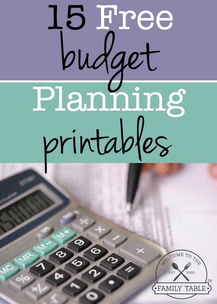 budget worksheets free printable