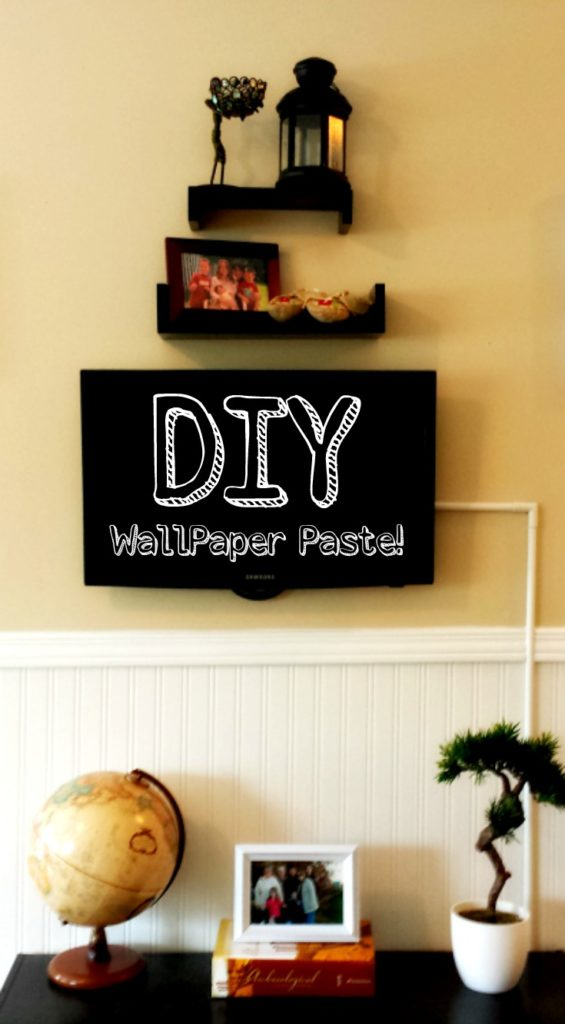 TV Wall Makeover With Beadboard Wallpaper DIY Paste