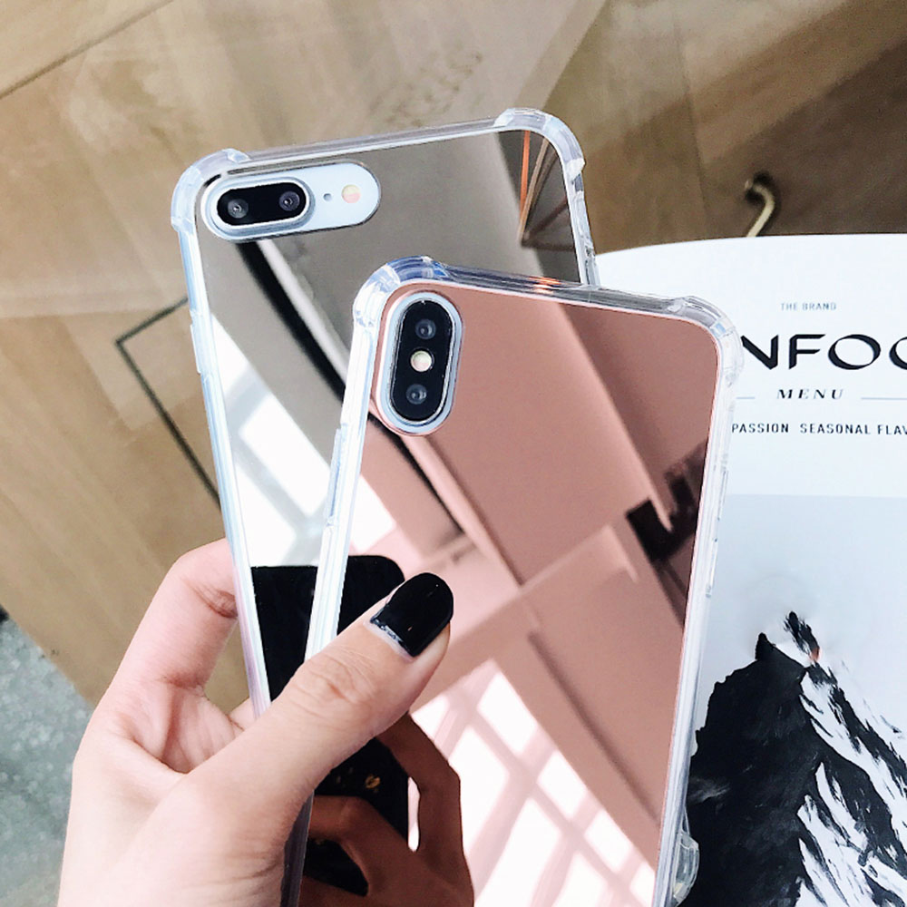 premium selection ea3bb a165a Luxury Plated Mirror Phone Case Cover For iPhone